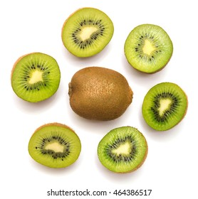 Kiwi fruit isolated on white background. Kiwi collection. Top view, flat