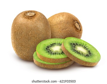 Kiwi fruit isolated. Whole and sliced kiwi isolated on white background with clipping path.