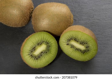 Kiwi Fruit on an Black Slate Background