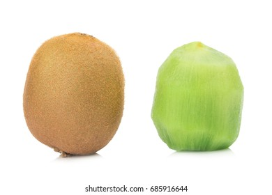 kiwi fruit  pulp. Peel kiwi isolated on white background.