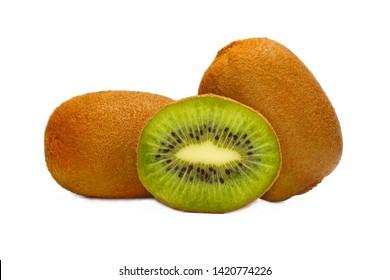 Kiwi fruit with a slice isolated on white background.
