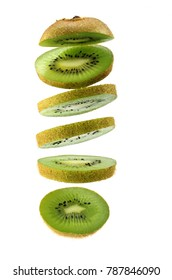 kiwi fruit ,Sliced kiwi isolated on white background. Levity fruit floating in the air