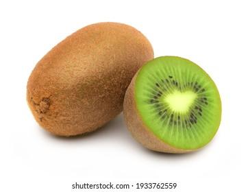 Kiwi fruit and Slices isolated on white background,cutout.