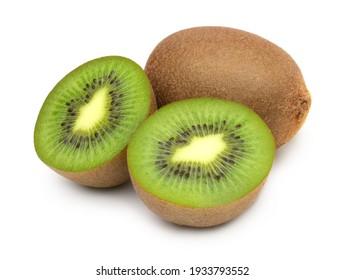 Kiwi fruit and Slices isolated on white background,Fresh kiwi.