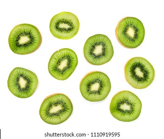 Kiwi fruit Slices macro.  Ripe Kiwi fruit isolated on white background. Fresh tropical abstract background