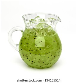 Kiwi fruit smoothie with ice in pitcher - clipping path included