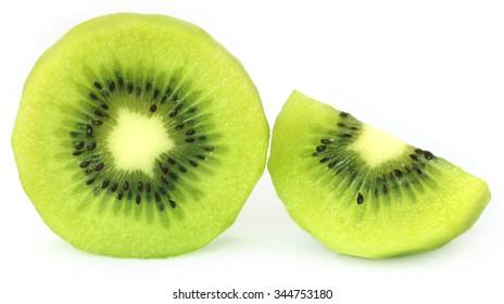 Kiwi fruits over white background