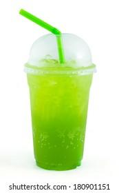 Kiwi italian soda take home drink on white background