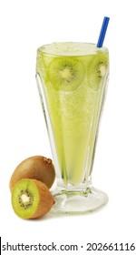 Kiwi juice glass isolated on white