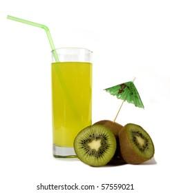 Kiwi Juice on white background