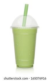Kiwi milkshake isolated on a white background