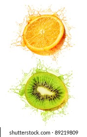 Kiwi and orange wet isolated on a white