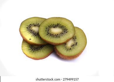KIWI, ripe, juicy fruit, isolated on white background, macro