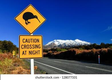Kiwi Road Sign with Mount Ruapehu, Tongariro National Park, North Island, New Zealand