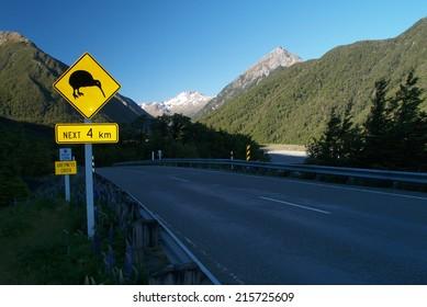 Kiwi sign, Arthurs pass, New Zealand
