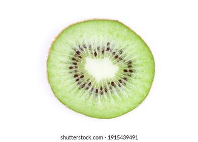 Kiwi slice isolated on white. Round fruit section. Single object cutout.