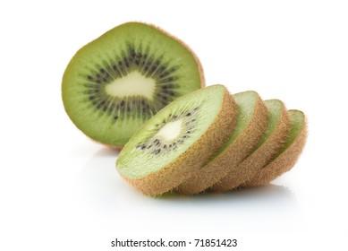 kiwi sliced isolated on white
