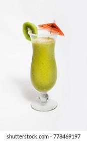 kiwi smoothie in glass on white background