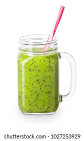 kiwi smoothie isolated on white background with clipping path. Green detox blended cocktail in mason jar