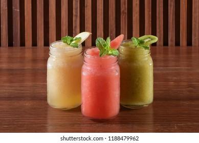 Kiwi smoothie,Water melon smoothie and Green apple smoothie