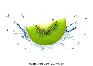 Kiwi splash water isolated on a white background