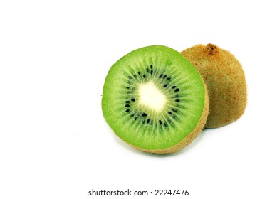 Kiwi  Splitted in Halves Isolated on White