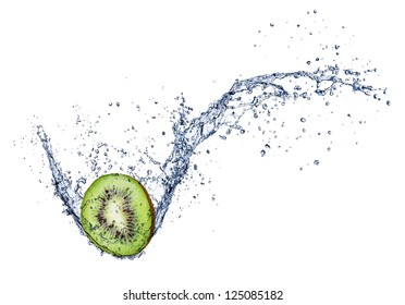 Kiwi in water splash, isolated on white background