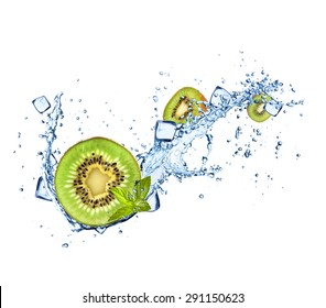 Kiwi in water splashes and ice cubes isolated on white background