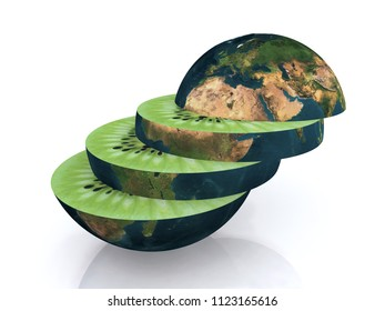 the kiwi world sliced, 3d illustration. Elements of this image furnished by NASA.