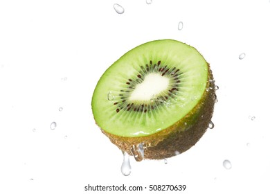 the kiwifruit on white with splash