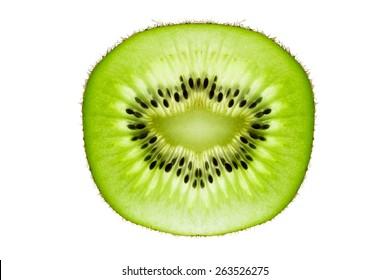 A Kiwifruit Slice Isolated on a White Background.