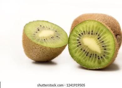 Kiwifruit slices, fresh kiwifruit on a white background