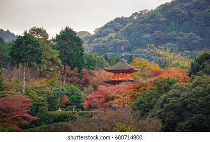 Kiyomizu-dera Shrine at autumn in Kyoto, Japan. Kiyomizu-dera was one of 21 finalists for the New Seven Wonders of the World in 2007.
