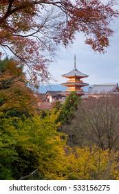 Kiyomizu-dera temple in autumn, Kyoto, Japan