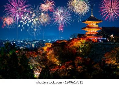 Kiyomizu-dera Temple with fireworks display in Kyoto, Japan