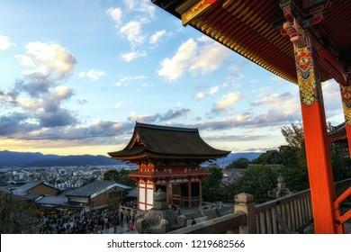 kiyomizudera west gate viewed during autumn season sunset hours. Kiyomizudera is a famous UNESCO temple in Kyoto, Japan.