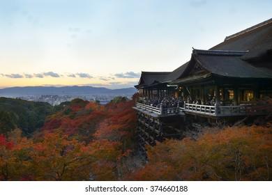 Kiyomizu-Deru Temple in Kyoto, Japan.  Kiyomizu-Deru is part of UNESCO World Heritage sites.