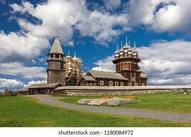 Kizhi Island, Petrozavodsk, Karelia, Russian Federation - August 20, 2018: Folk architecture and the history of the construction of wooden houses