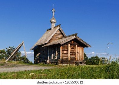 Kizhi Island. Wooden Church of the Resurrection of Lazarus, located on the island of Kizhi Lake Onega. Summer landscape. Russia, Karelia.