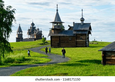 Kizhi Pogost with Transfiguration Church on Ladoga Lake at Karelia in Russia