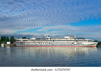"Kizhi, RUSSIA, June 2015: Large cruise ship ""Gogol"" at the pier of Kizhi island"