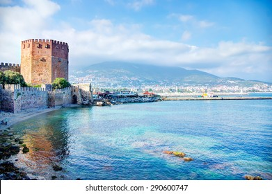 Kizil Kule - Ancient Red Tower in port of Alanya, Turkey