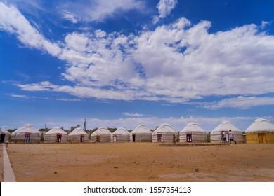 Kizilkum/Uzbekistan-Yurt camp in the desert in Uzbekistan near Aydarkul lake - July 25, 2019: Yurt camp in the desert in Uzbekistan.