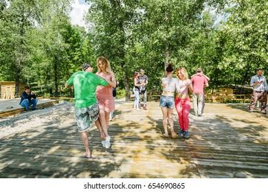 Kizomba dance marathon, public outdoor dance gathering at Trukhaniv island, 2017 May 27, Kyiv (Kiev), Ukraine.