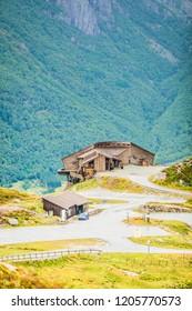 Kjerag base parking area in norwegian mountains