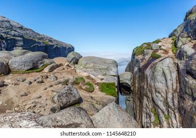 Kjeragbolten boulder located on the Kjerag mountain