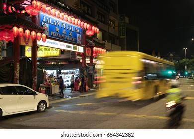 KL, MALAYSIA - 10 MAY 2017 : Traffic condition of Petaling street Chinatown, Kuala Lumpur, Malaysia during normal weekday night.
