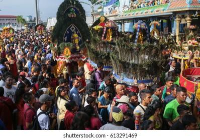 KL, MALAYSIA - 9 FEB 2017 : Thaipusam kavadi bearers at Batu Cave temple, Kuala Lumpur Malaysia 2017.