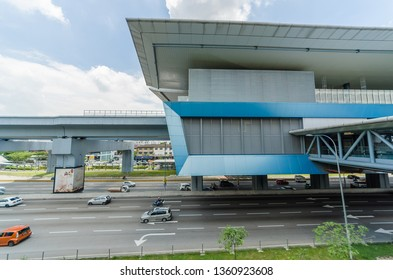 KL, Malaysia - April 5,2019 : There are some link bridges connects the Cheras Leisure mall and Eko Cheras mall directly to the MRT Taman Mutiara station. People can seen exploring around it.