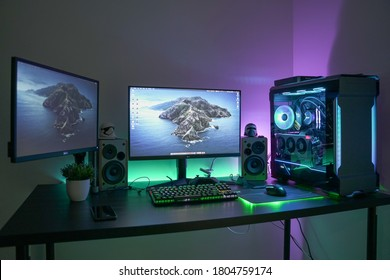 KL, MALAYSIA - August 28th, 2020 :                     A HTPC(Hackintosh PC) & Gaming PC rig with liquid cooling setup and full RGB light inside